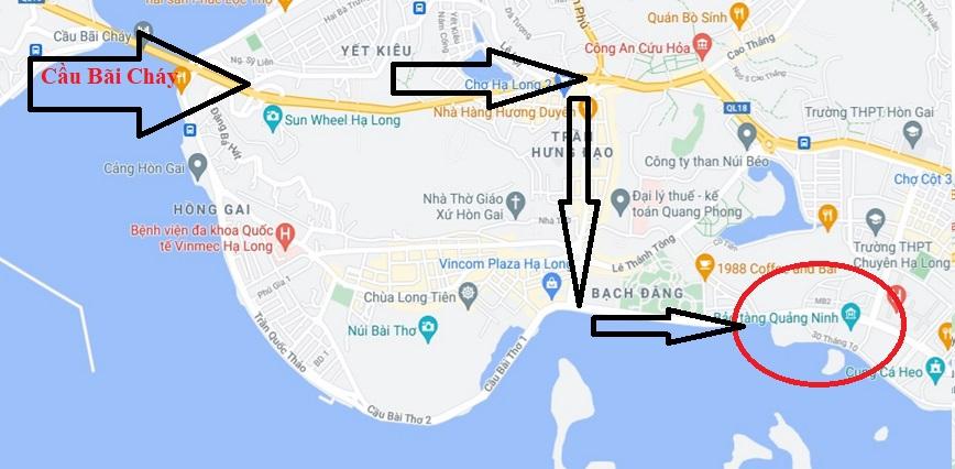 Bản đồ hướng dẫn di chuyển đến bảo tàng Quảng Ninh